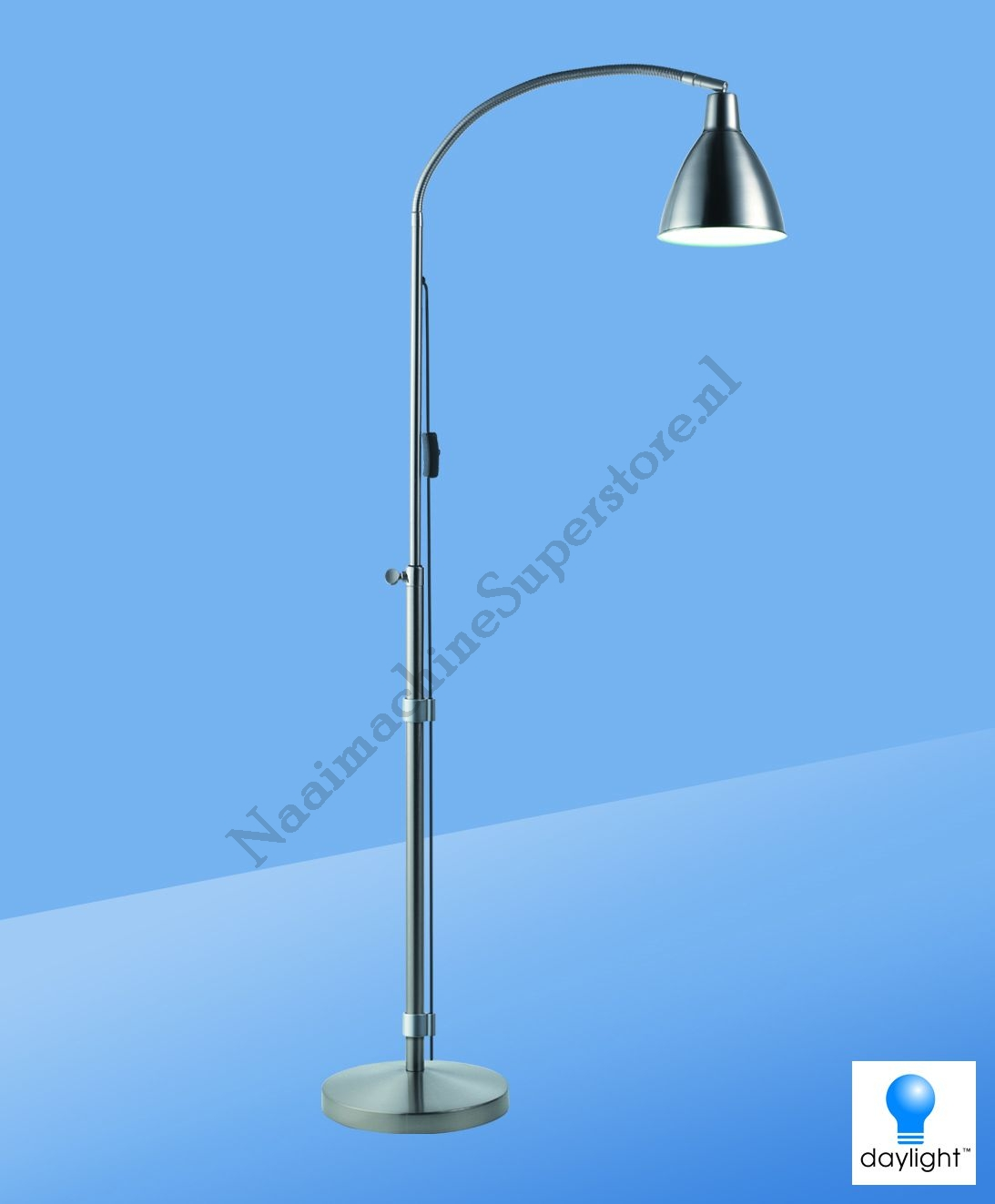 Flexi vision daylight vloerlamp brushed chrome for Lampen chrom
