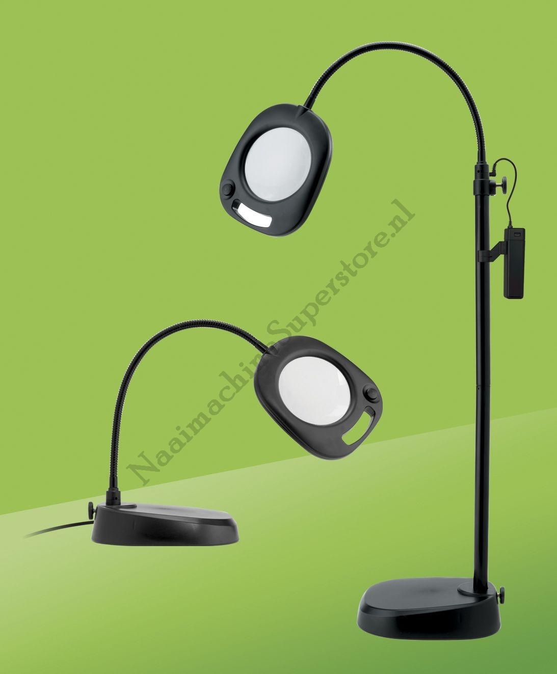 led vloerlamp met loep zwart vloerlampen daylight lampen naaimachine superstore. Black Bedroom Furniture Sets. Home Design Ideas