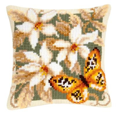 Kussen oranje vlinder