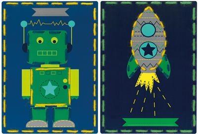Borduurkaarten robot en raket