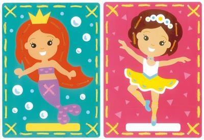 Borduurkaarten Ballerina en zeemeermin