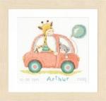 Giraf en beer in auto