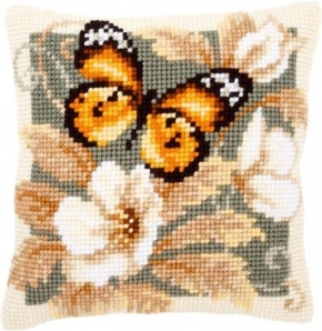 Kussen oranje zwarte vlinder