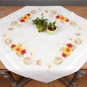Tafelkleed zonnebloemen en papavers