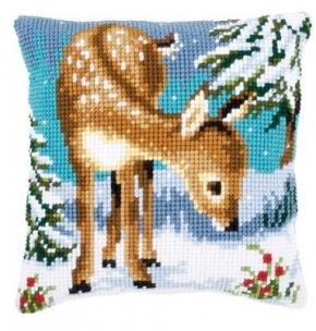 Kussen hertje in de sneeuw