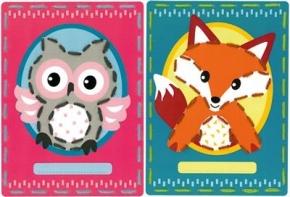 Borduurkaarten uil en vos