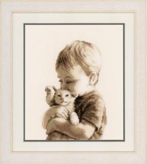 Jongen met kitten