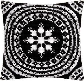 Kussen zwart met wit