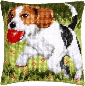 Kussen spelend hond